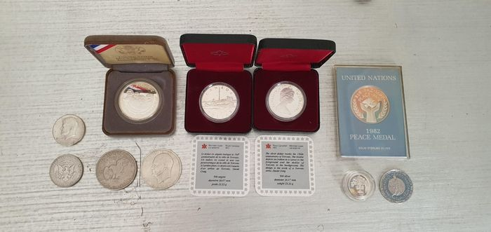 Canada, Mexico, United Kingdom, USA - Lot various coins + medal 20th century (10 pieces) most silver