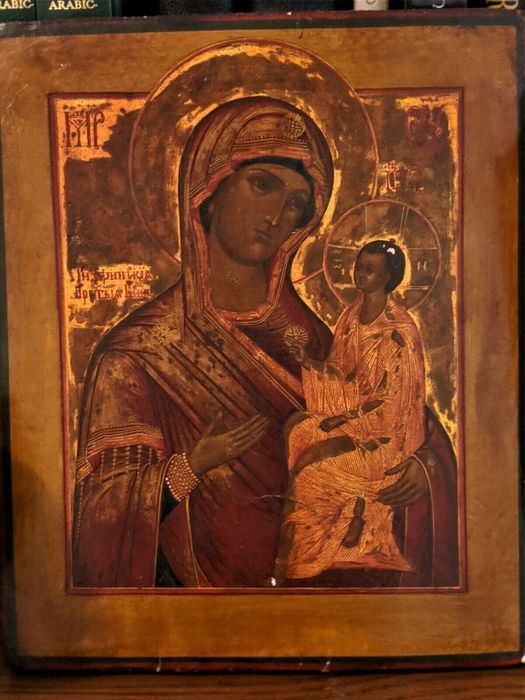 Icon, Mother of God of Tikhvin. Russia. 19th century - Wood - Second half 19th century