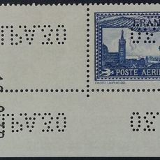 Francia 1930 - 1 franc 50 ultramarine, repeated EIPA30 perforations, with dated sheet corner. - Yvert Poste aérienne 6c