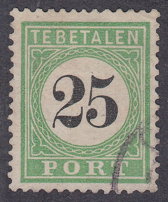 Curaçao 1889 - Postage due stamp with a black numeral - NVPH P7 type II