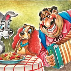Lady and the Tramp - Large Giclée - Joan Vizcarra 60x43 - Tela