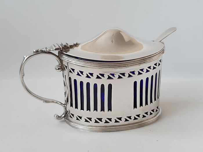Large Victorian mustard pot - .925 silver - Charles Stuart Harris , London - U.K. - 1895