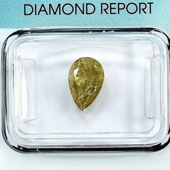 Diamond - 1.55 ct - Pear - Natural Fancy Greenish Yellow - I2 - NO RESERVE PRICE