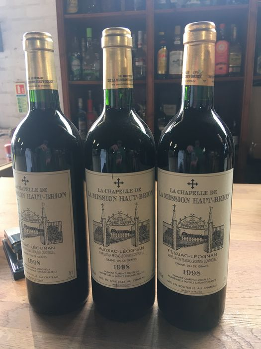 1998 La Chapelle de Mission Haut Brion, 2nd wine Ch. La Mission de Haut Brion - Pessac-Léognan - 3 Botellas (0,75 L)