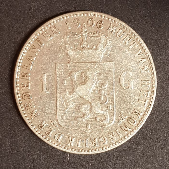 The Netherlands - 1 Gulden 1906 Wilhelmina - Silver