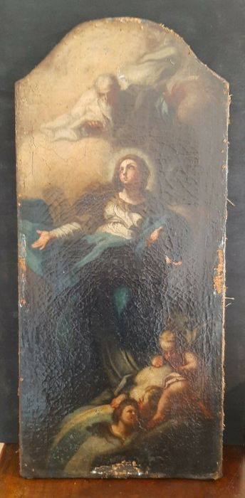 Painting, altarpiece Madonna the Assumption of the Virgin angels and saints - oil canvas - 17th century