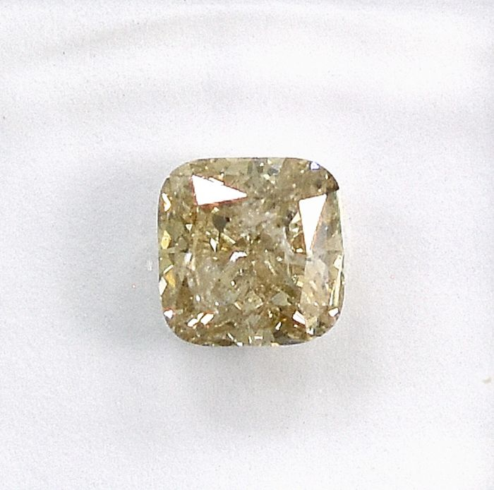 Diamant - 1.06 ct - Quadrat - Q-R, very light Brown - I1 - NO RESERVE PRICE