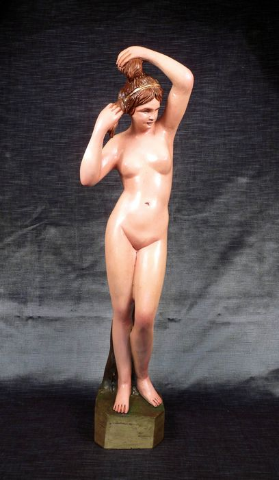 Large wooden polychrome statue - Naked bather. - Neoclassical Style - Wood - Mid 20th century