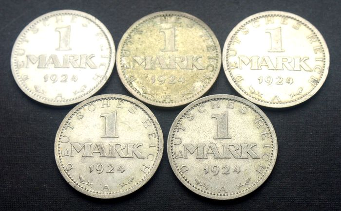 Germany - 1 Mark 1924 A (5 coins) - Silver