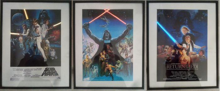 Star Wars - Lot of 3 - Original Trilogy - Framed, with Neon highlights - Poster