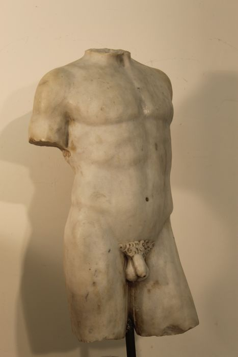 Sculpture, Large torso with base - 105 - Marble - Late 19th century