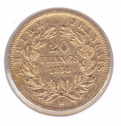 20 Francs 1858 BB - Or