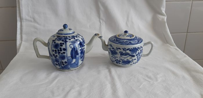 Teapots (2) - Blue and white - Porcelain - people, birds, flowers, trees - China - 19th century