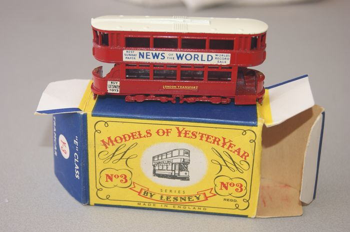 """Matchbox """"Models of Yesteryear"""" Series - Scale 112 - MINT Model Yesteryear Series: First Original Issue""""1907 London BUY LESNEY TOYS E Class TRAMCAR"""" - no.Y3-1 in Original First Issue Box - 1956"""