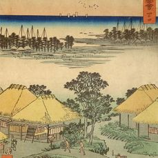 "Gravure originale sur bois - Papier - Utagawa Hiroshige (1797-1858) - 'Yokkaichi' - No 44 from the series ""Famous Sights of the Fifty-three Stations"" (Vertical Tôkaidô) - Japon - 1855 (Ansei 2), 7e mois"