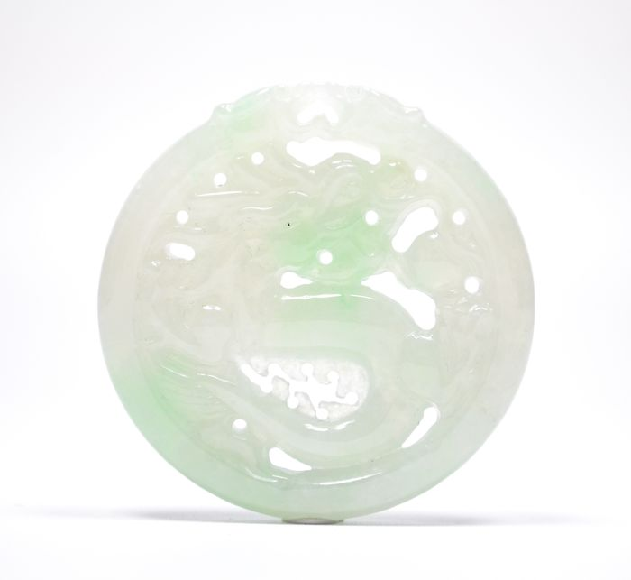 Carving - NO RESERVE PRICE - Natural Jadeite (Type A) - Certified - China - 21st century