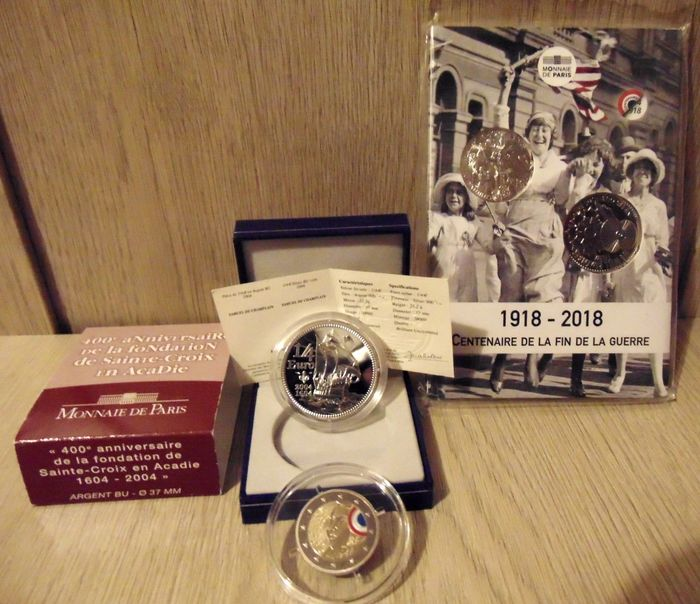 """France - 1/4, 2 & 10 Euro 2015 with color Federation Party """"république''+2004  Champlain 400 Years Canada+2018 end of the ww1 - Silver, Bi-metallic"""