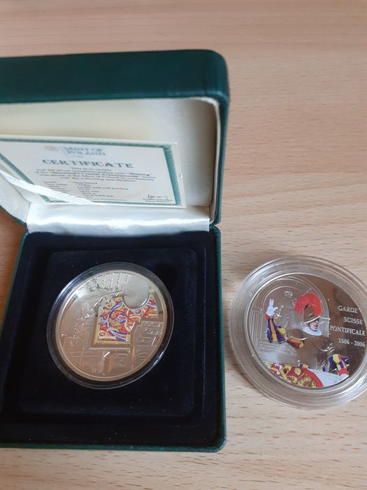 Congo-Brazzaville, Niue - 10 Francs 2006 'Suisse Guard' + Dollar 2011 'Mankind's Crucial Achievements Writing' (2 coins)  - Silver