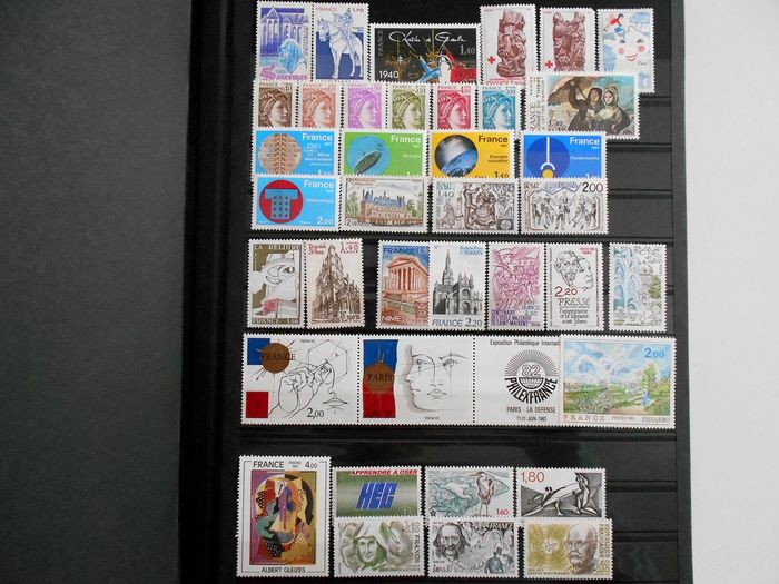 Francia 1980/1999 - A very lovely complete collection of modern stamps in an album with strips. - Yvert Entre n°2114 et 3240 + BFs