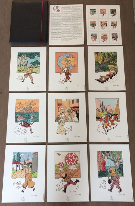 Tintin - Portfolio Moulinsart - Tintin 75 ans - 9 lithographies - No 477/1000ex - First edition - (2003)