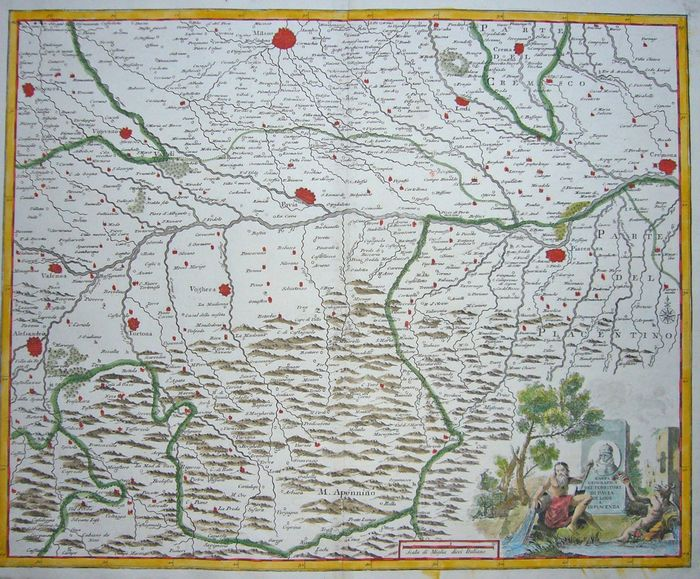 Italie, Lombardia [Lot of two]; Albrizzi / Guthrie (2 maps) - Carta Geografica dei Territori di Pavia / Italy from the best authorities - 1721-1750