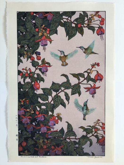 "Xilografía original - Papel - Toshi Yoshida (1911-1995) - ""Hachidori"" 蜂雀 (Hummingbirds [and Fuchsia]) - Japón - Período Heisei (1989-2019)"