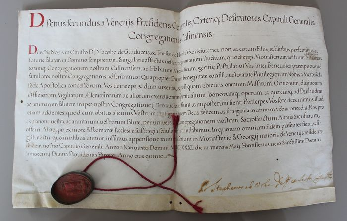 Father General Order Benedictines - General Capitula Benedictines in Venice with wax seal - 1681