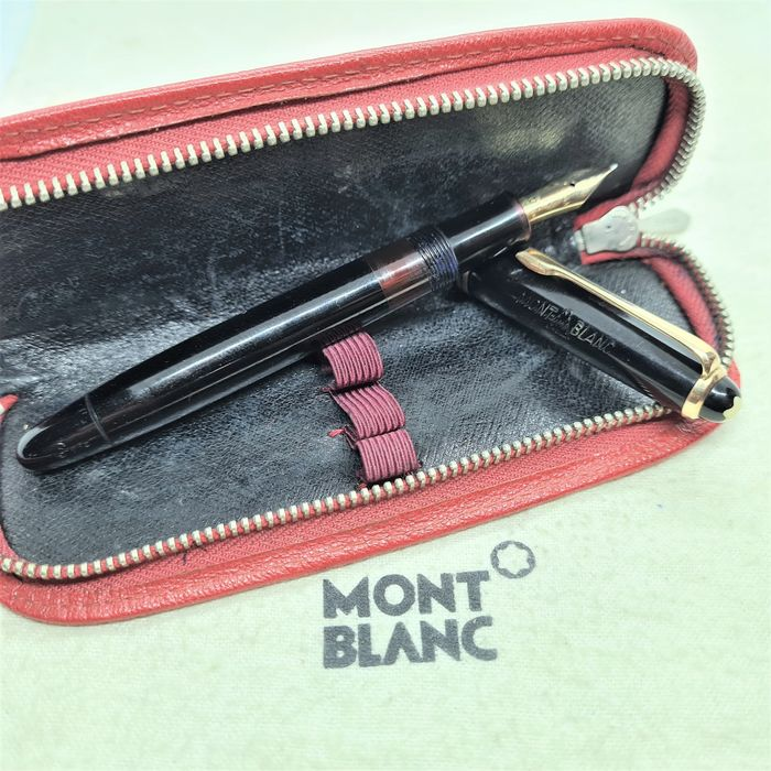 Montblanc - 244G - Fountain pen - 14k solid gold nib (Rare KF) - Red leather cover