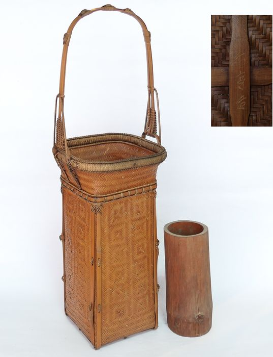 "Cesto - Bambù - With signature ""竹亭?造"" - A  large Japanese weaving bamboo flower ikebana basket(50cm) - Giappone - Taisho all'inizio del periodo Showa"