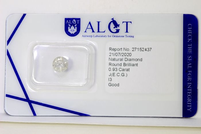 Diamant - 0.93 ct - Brillant - J , Faint Gray - I3 - * NO RESERVE PRICE *