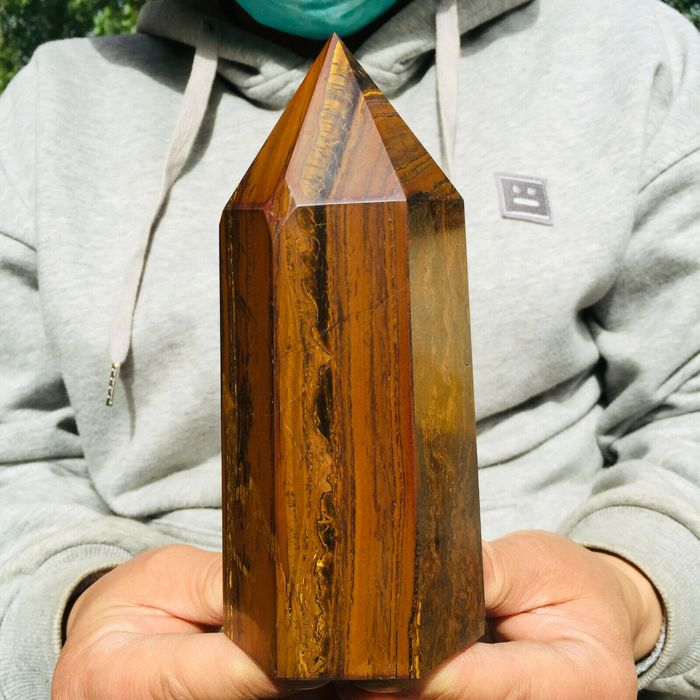 Tiger Eye Quartz Obelisk - 16×7×5 cm - 1009 g