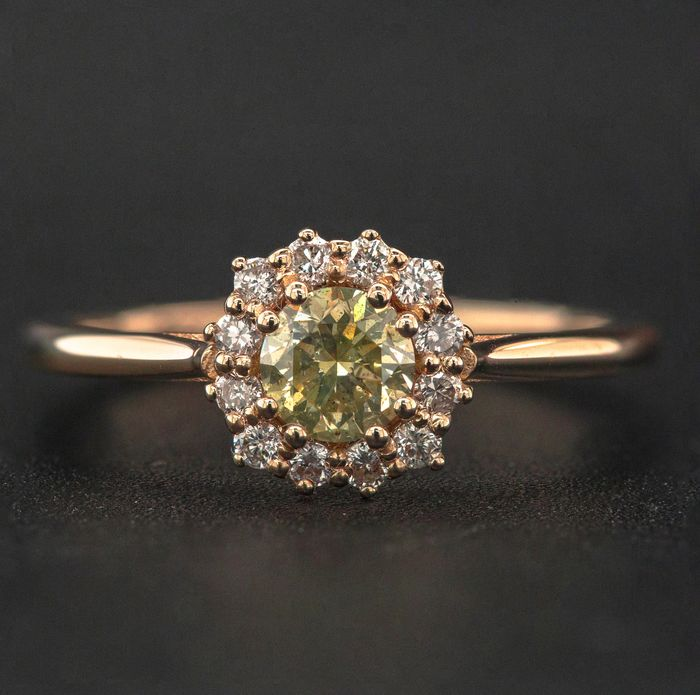 14 kt. Pink gold, 2.25g - Ring - 0.58 ct Diamond - No Reserve Price
