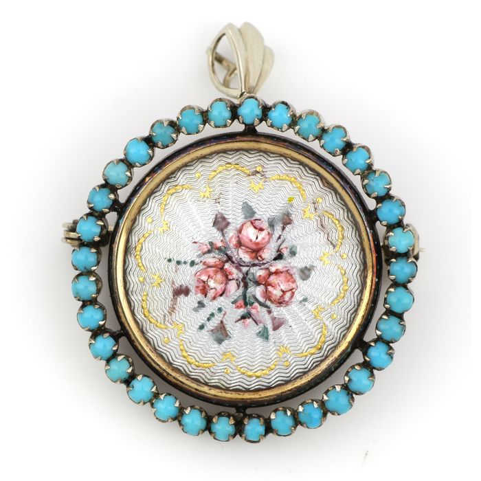 No Reserve Price - 18 kt. Gold - Brooch, Pendant - 3.00 ct Turquoise