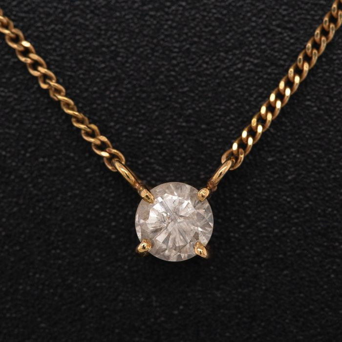 18 kt. Yellow gold, 1.97g - Necklace with pendant - 0.33 ct Diamond - No Reserve Price
