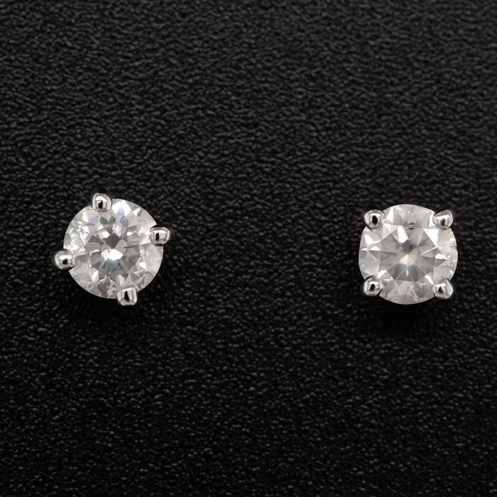 14 kt. White gold, 0.73g - Earrings - 0.81 ct Diamond - No Reserve Price