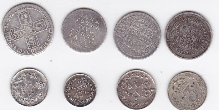Canada, Great Britain - Lot various coins 1758/1920 (8 pieces)  - Silver