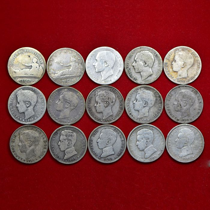 Spain - Peseta 1869/1904 (15 pieces)  - Silver