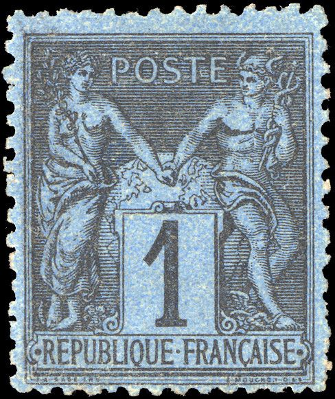 Frankreich - 1 centime black on Prussian blue, very lovely, signed. - Yvert 84