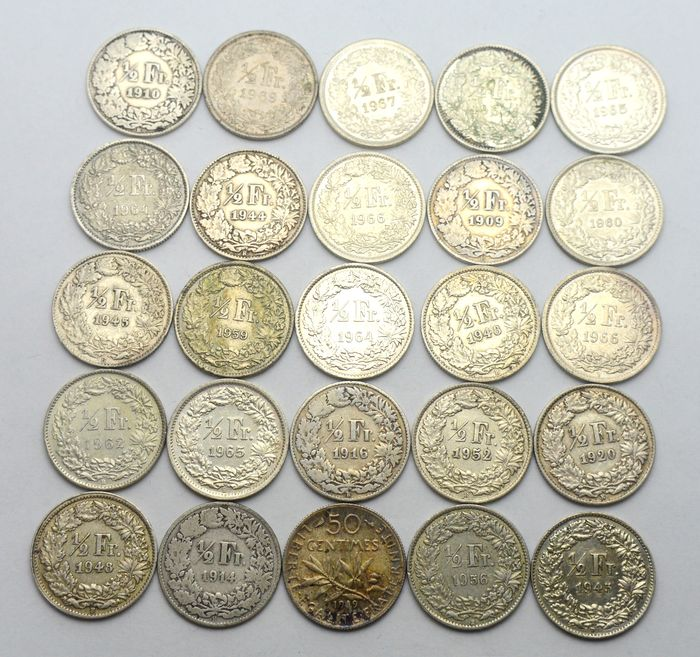 France, Switzerland - 1/2 Francs 1909/1969 + 50 Centimes 1919 (25 coins) - Silver