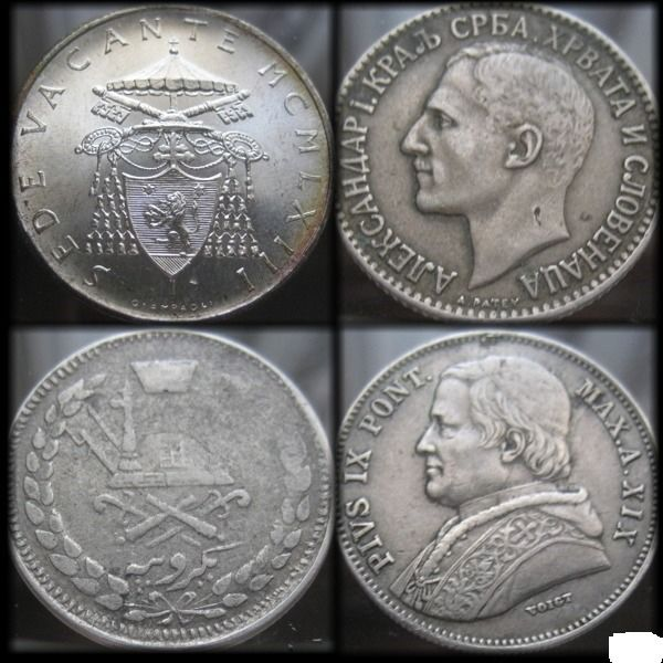 Afghanistan, Italy - Papal States, Serbia, Vatican - Rupee AH1317 + Dinar 1925 + 20 Baiocchi 1865 + 500 Lire 1958 (4 coins)