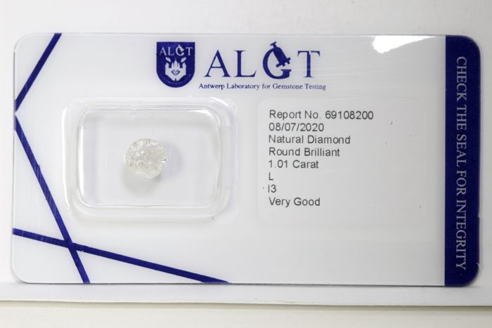 Diamant - 1.01 ct - Brillant - L - I3 - * NO RESERVE PRICE *