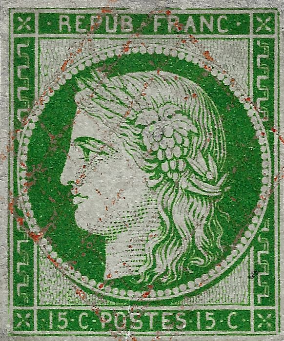 Ranska 1850 - Ceres, 15 cents green, red grid cancellation - Yvert 2b