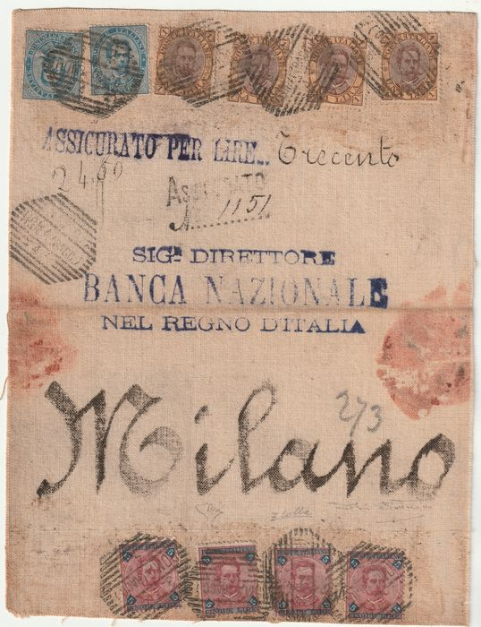 Königreich Italien 1879/82 - Insured mail 300 l. with 10 values Umberto I including 4 very rare pieces of 5 l. 2 certificates - Sassone NN.40+48+64