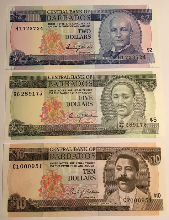 Barbados - 2, 5 and 10 dollars ND (1973/1980) - Pick 30a, 32a and 33a