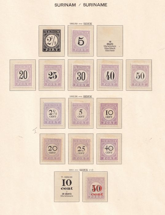 Suriname 1885/1956 - Collection of postage due stamps on Schaubek pages