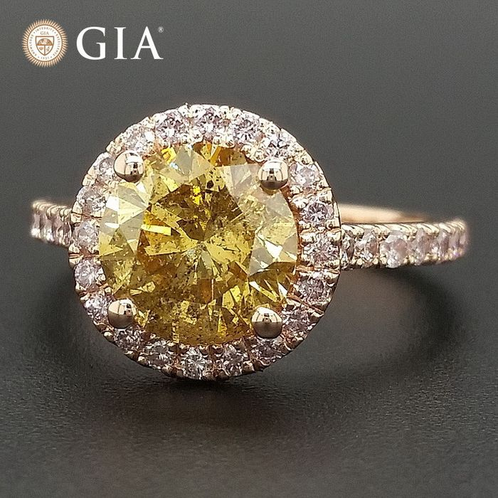 2.49ct Natural Fancy Brownish Yellow and Pink Diamonds - 14 kt. Pink gold - Ring - ***No Reserve Price***