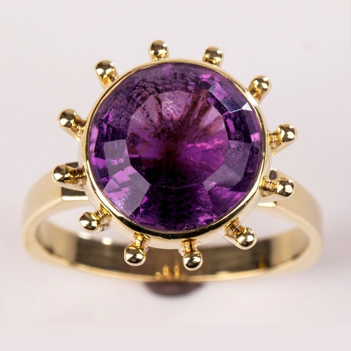 14 kt. Yellow gold - Ring - 5.80 ct Amethyst