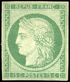 Frankreich - 15 centimes green, Ceres, imperforate, very lovely presentation, piece in superb appearance. - Yvert 2