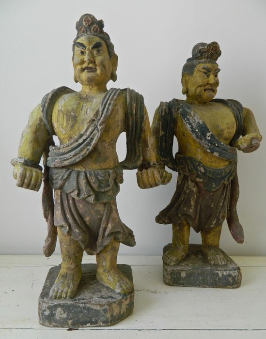 pair of wooden statues (2) - Elm wood - China - Mid 19th century