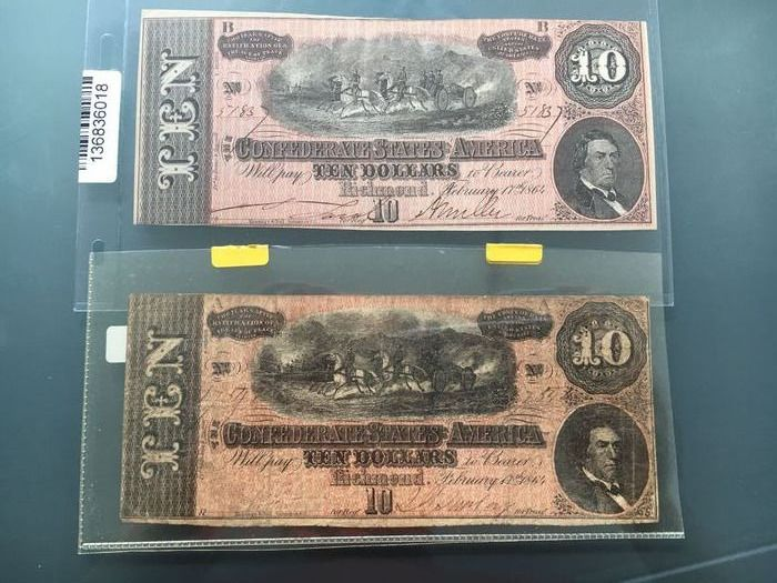 USA - Confederate States - 2 x 10 dollars 1864